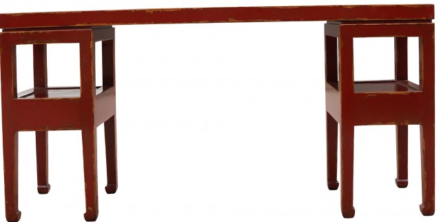 Distressed Red Console Table