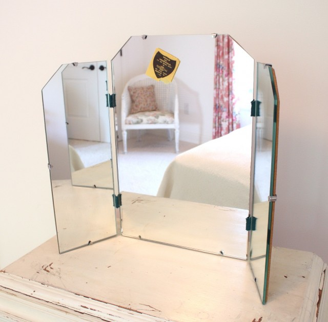 romantic hand painted makeup original fine furniture free length mirror standing traditional fold with antique table heirloom vanity mirrors tri artfull