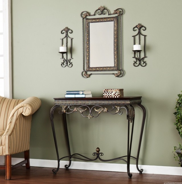 Entryway Console Table Mirror Set