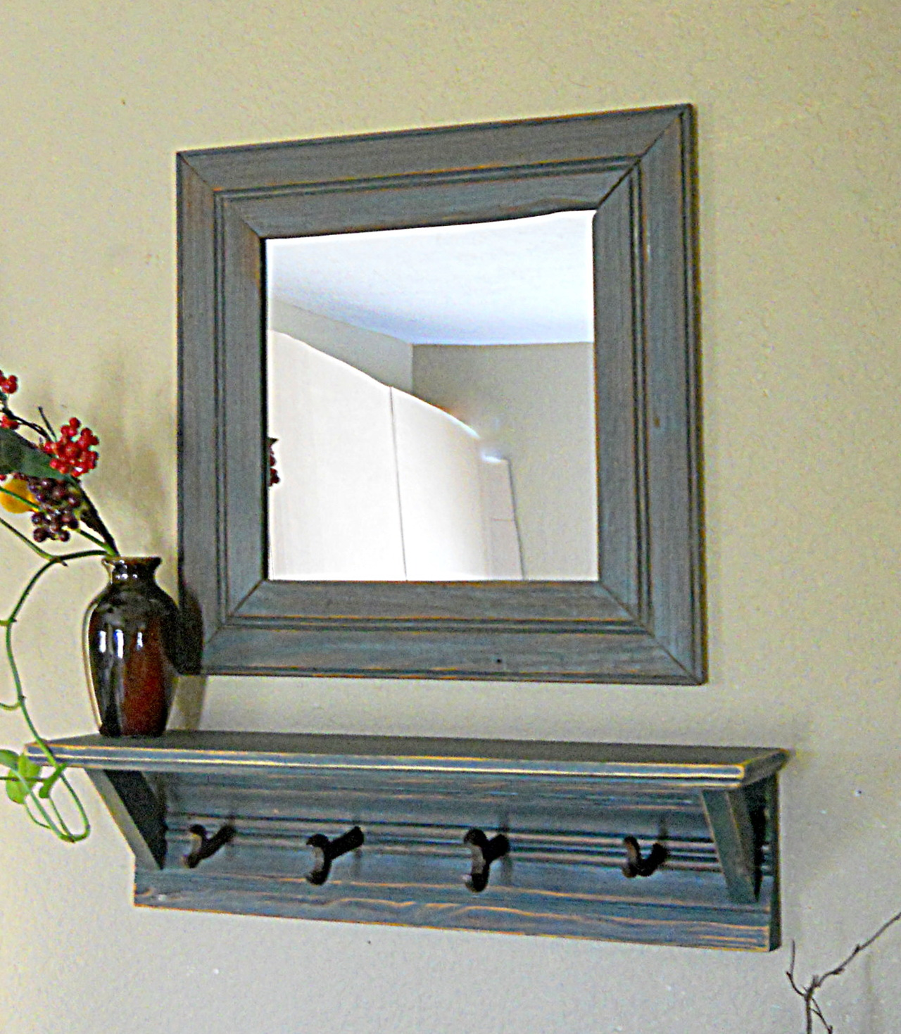 Entryway Mirror With Hooks And Shelf Home Design Ideas