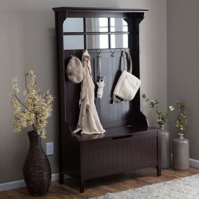 Entryway Storage Bench With Coat Rack