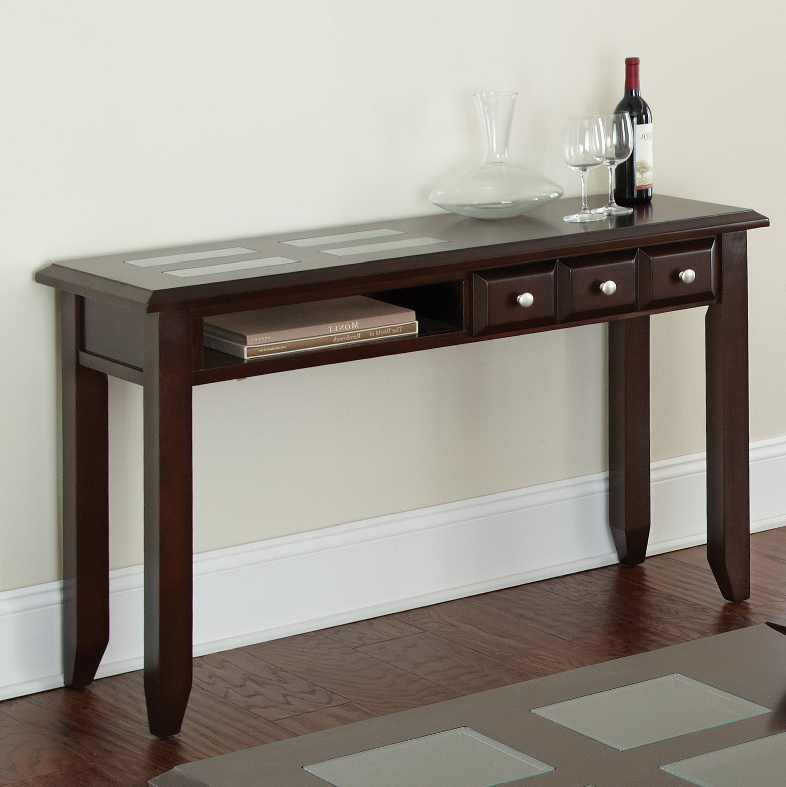 Espresso Console Table Storage