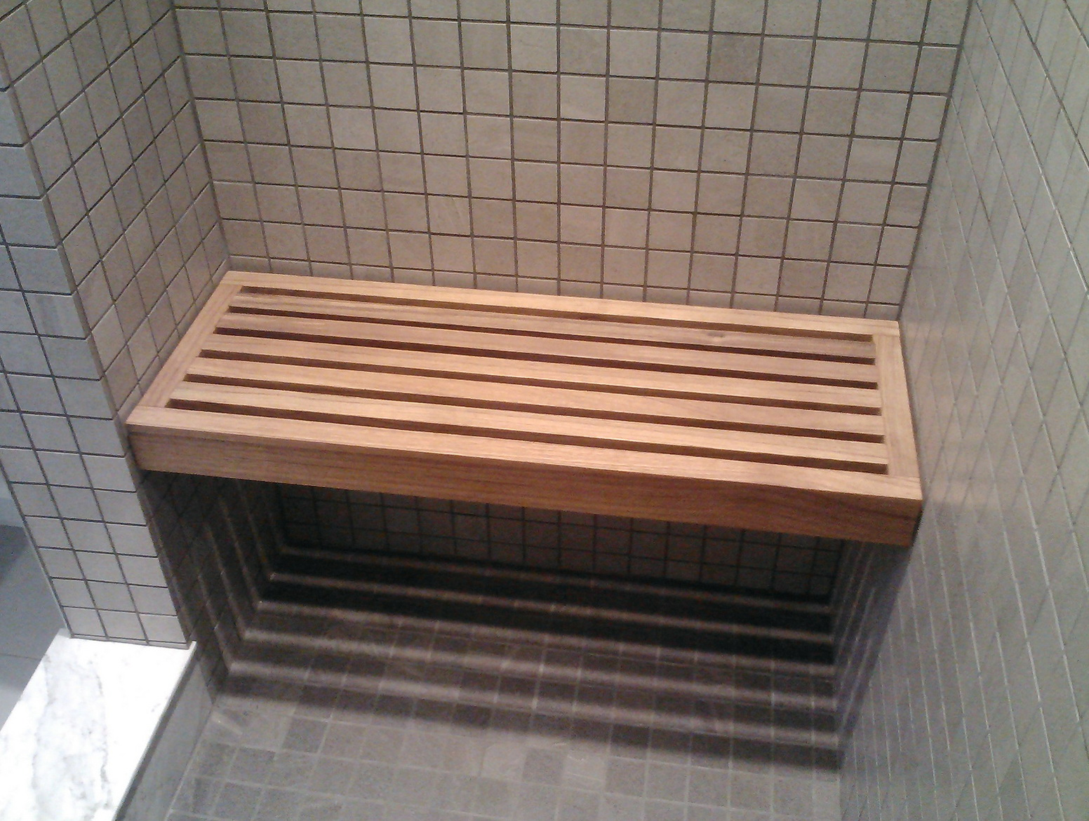 Floating Teak Shower Bench Home Design Ideas