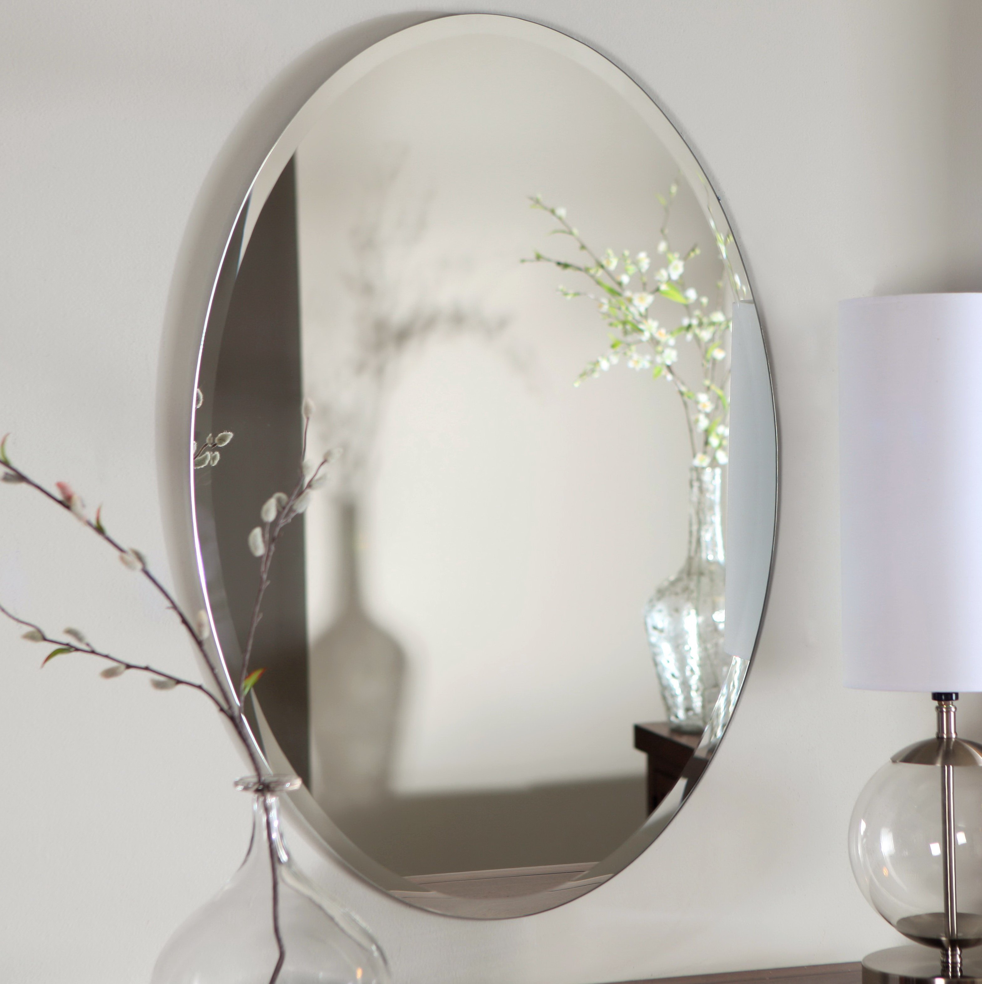 Frameless oval bathroom mirrors home design ideas for Frameless bathroom mirrors