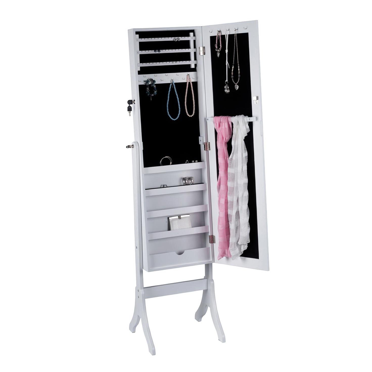 Free Standing Mirror Jewelry Cabinet