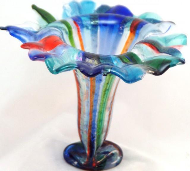 Fused Glass Flower Vases