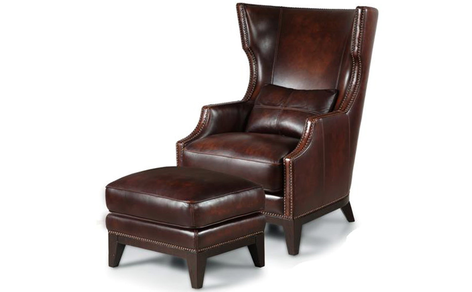 Merveilleux High Back Leather Chair With Ottoman