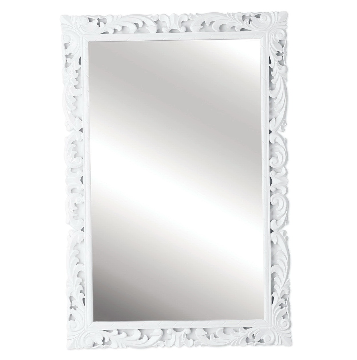High gloss white framed mirrors home design ideas for White framed mirror