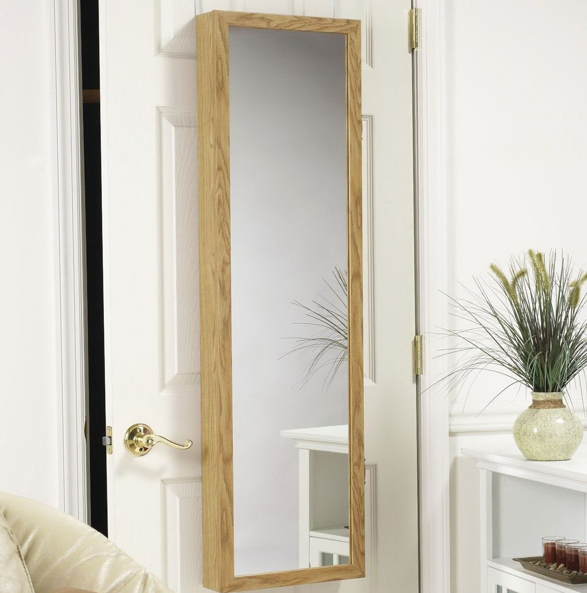 Jewelry Storage Mirror Over The Door