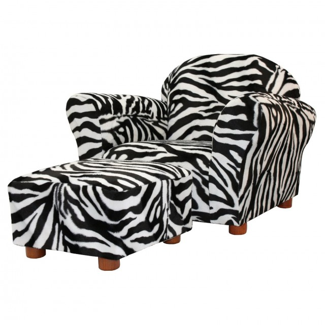 Kids' Sofa Chair And Ottoman Set Zebra