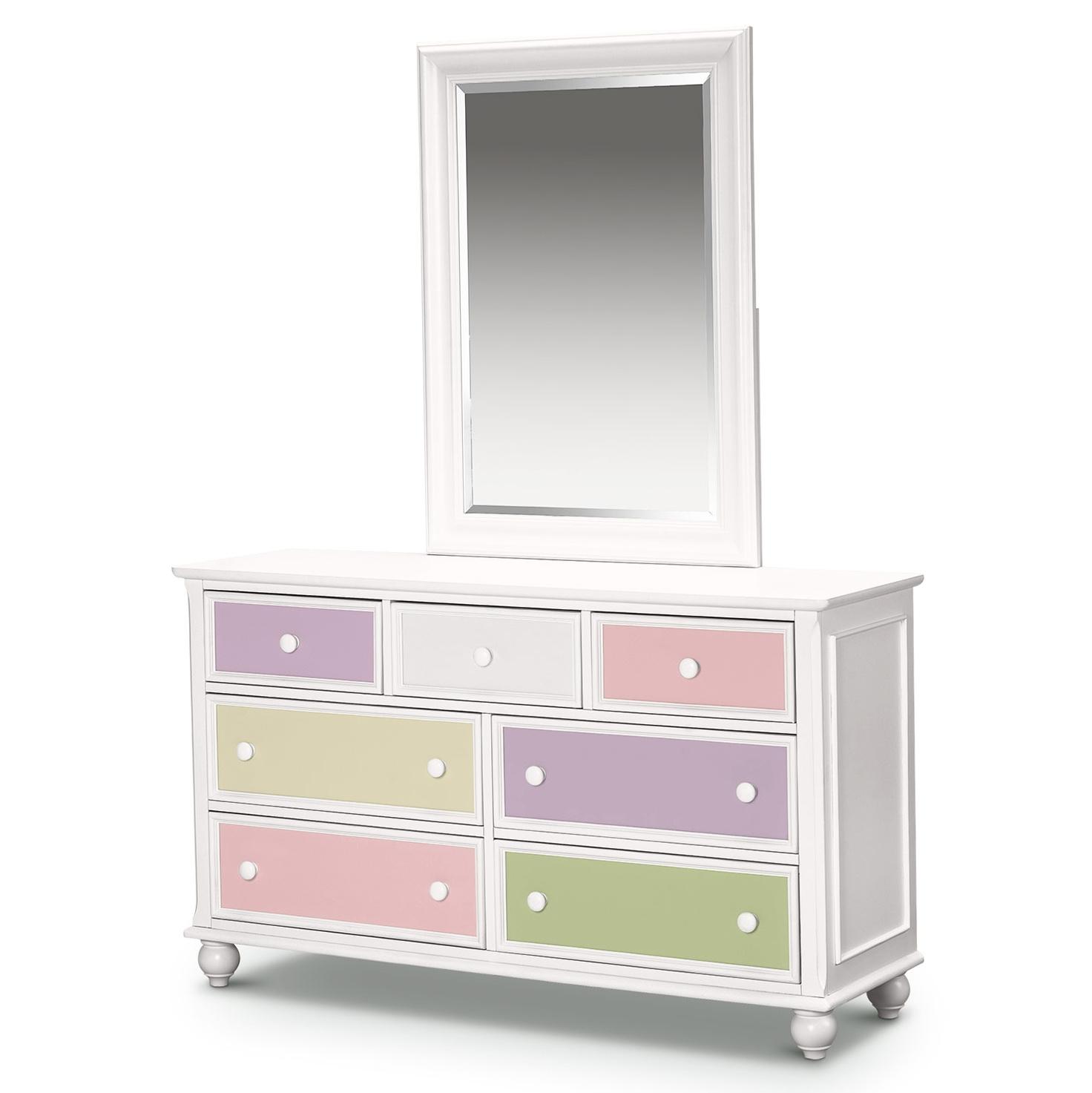 Kids White Dresser With Mirror