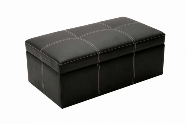 Large Black Leather Ottoman