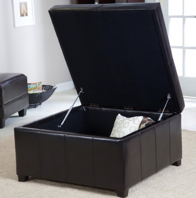 Large Black Storage Ottoman