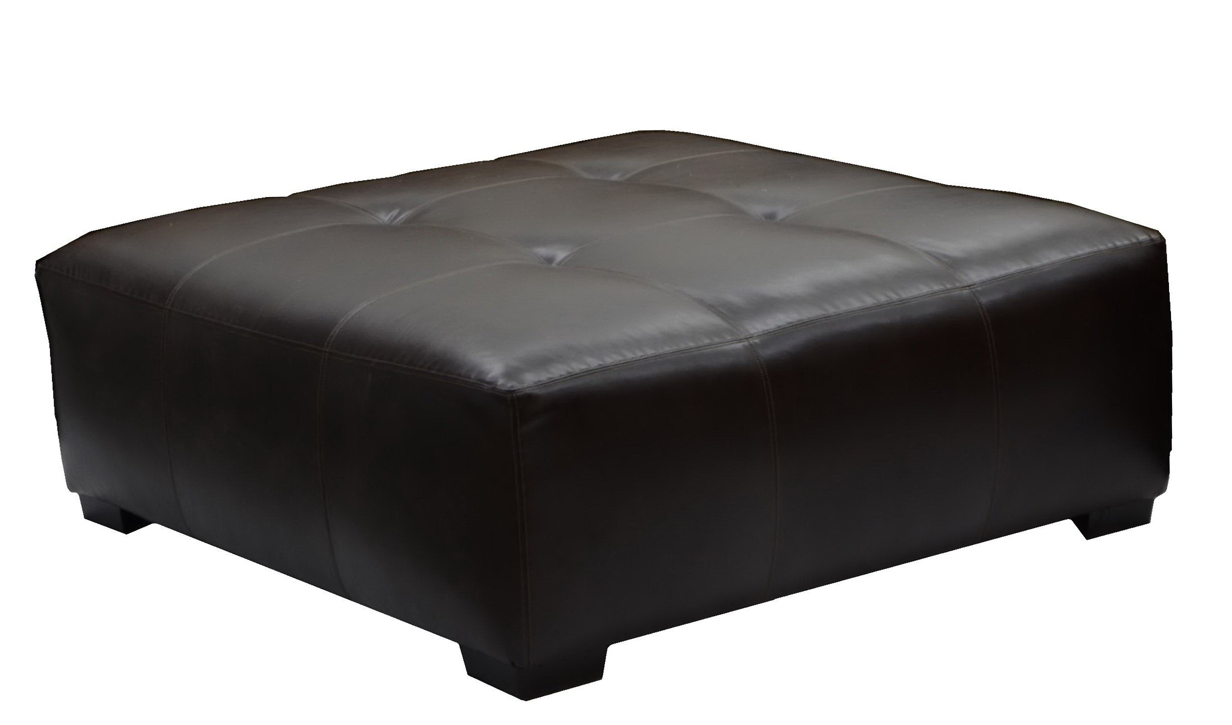 Large Square Leather Cocktail Ottoman