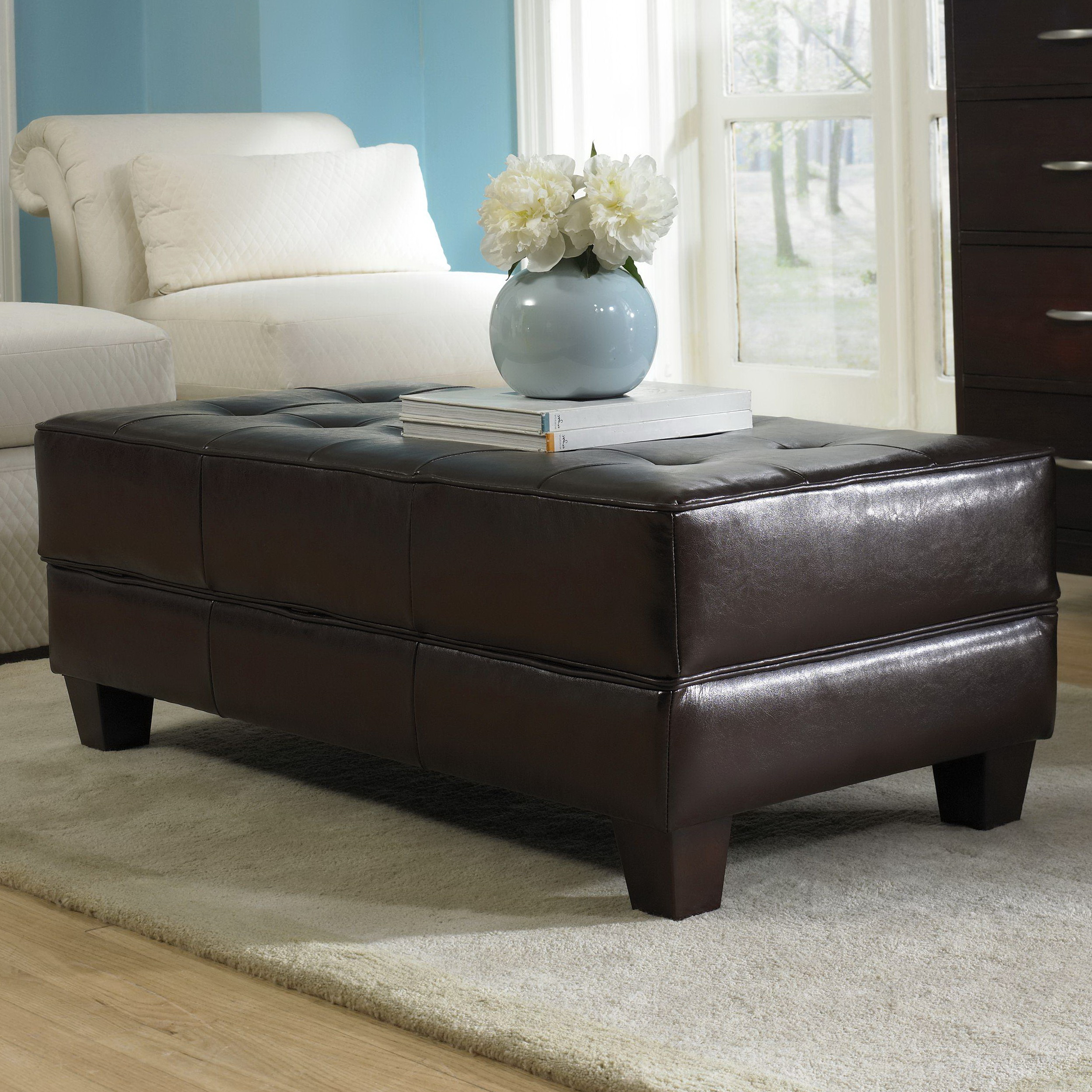 Large Storage Ottoman Leather