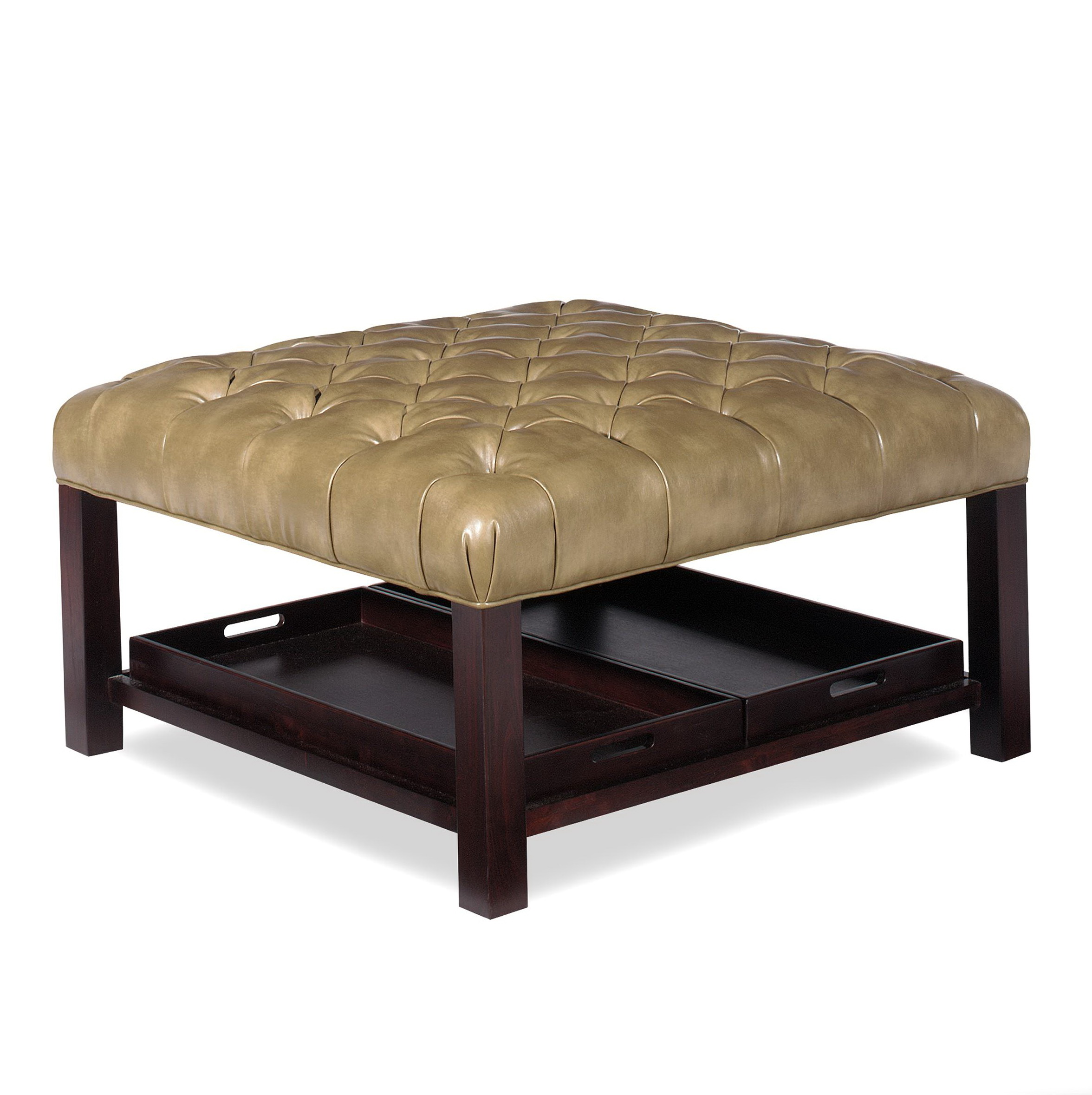 Leather Cocktail Ottoman With Shelf Home Design Ideas