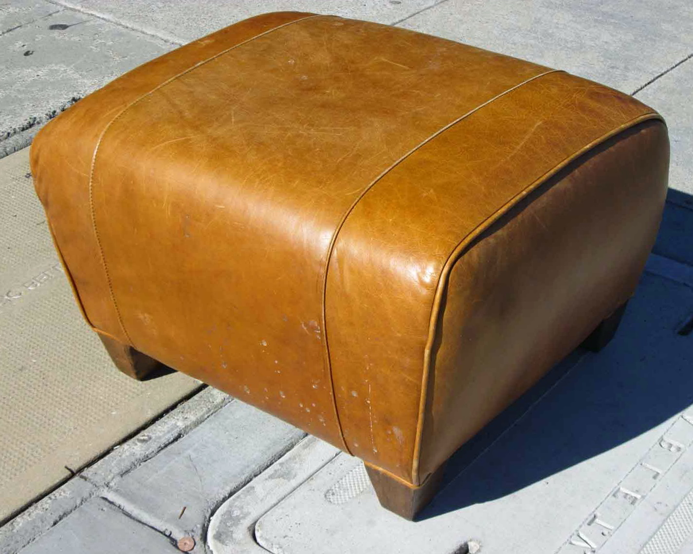 Leather Cube Ottoman Pottery Barn