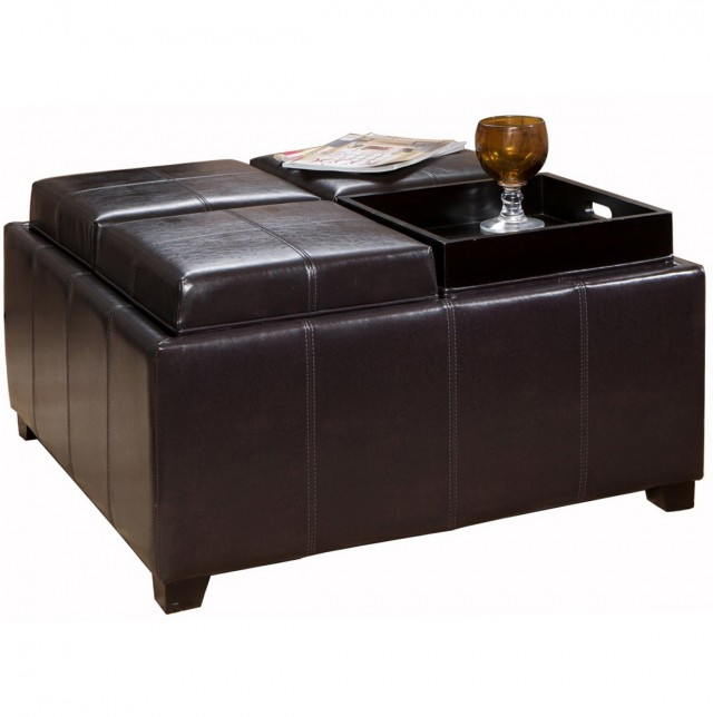 Leather Ottoman Coffee Table With Tray