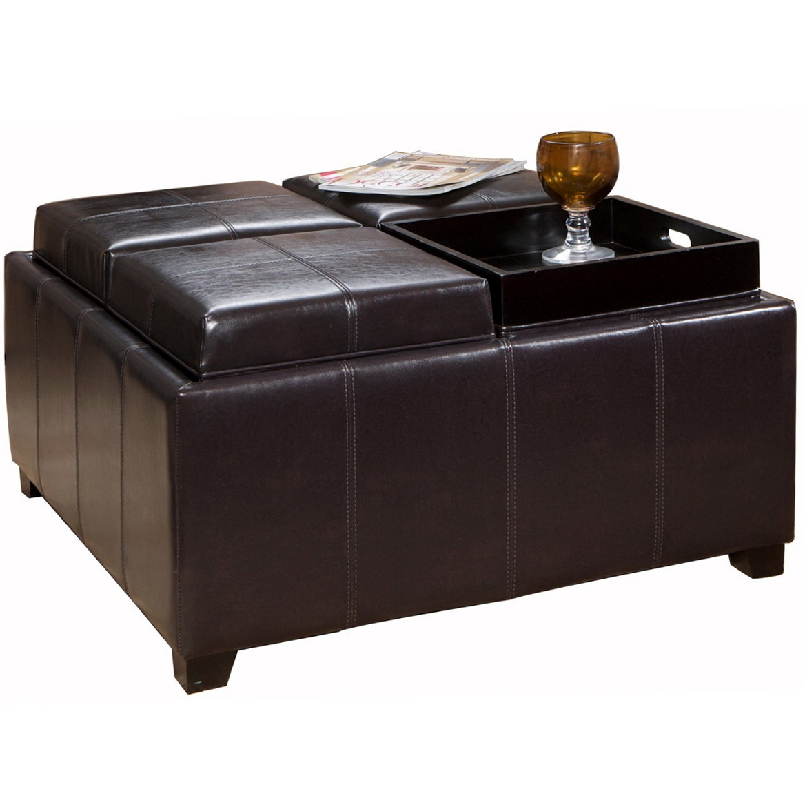 Footstool Coffee Table Tray: Leather Ottoman Coffee Table With Tray