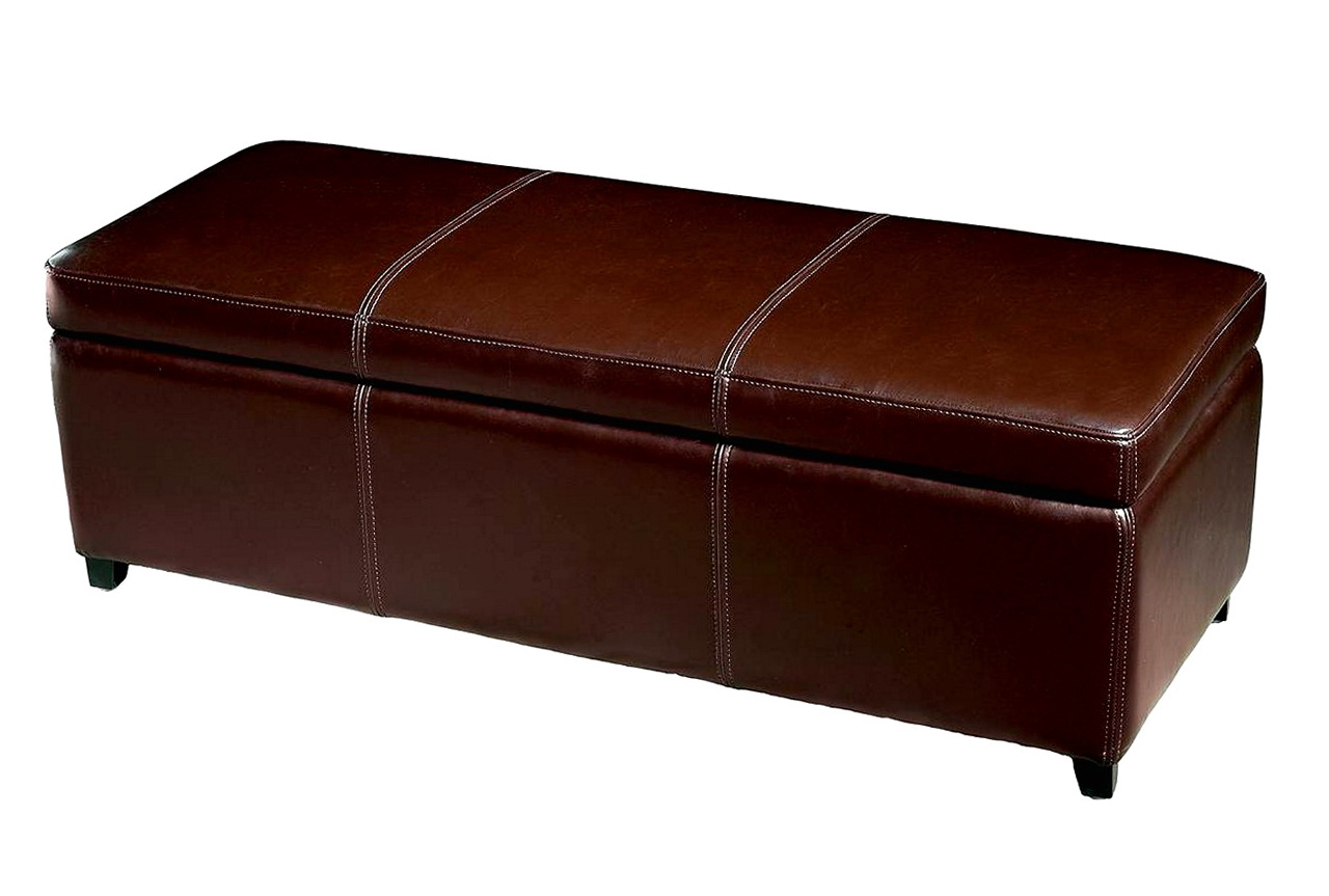 Leather Ottoman Storage Bench