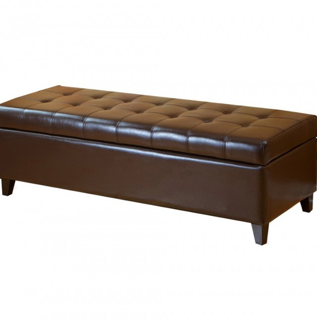 Leather Storage Ottoman Bench