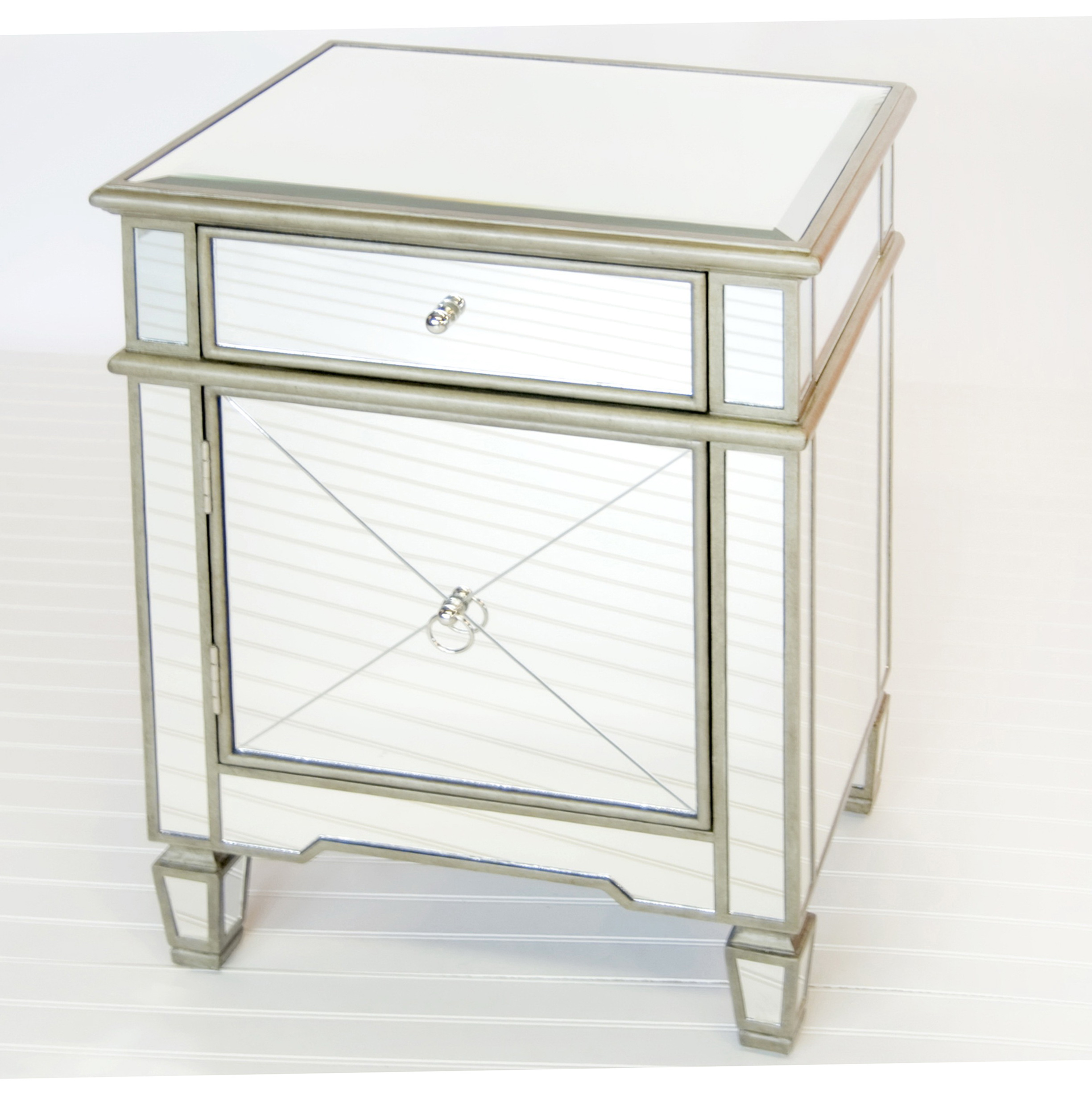 Mirrored End Table With Drawers