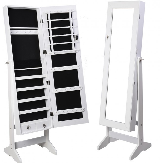 Mirrored Jewelry Cabinet Armoire W Stand