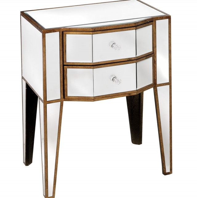 Mirrored Side Tables With Drawers