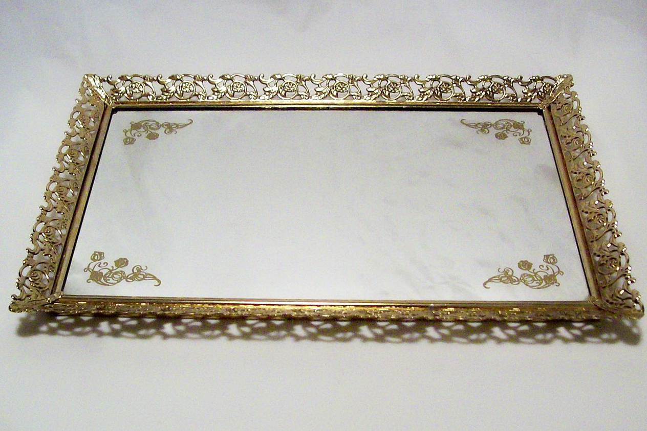 Mirrored Vanity Tray Gold