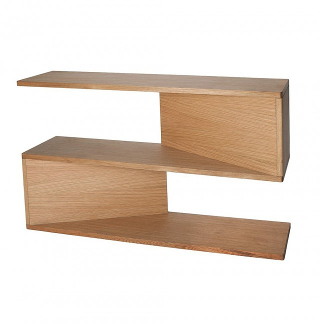 Oak Corner Console Table