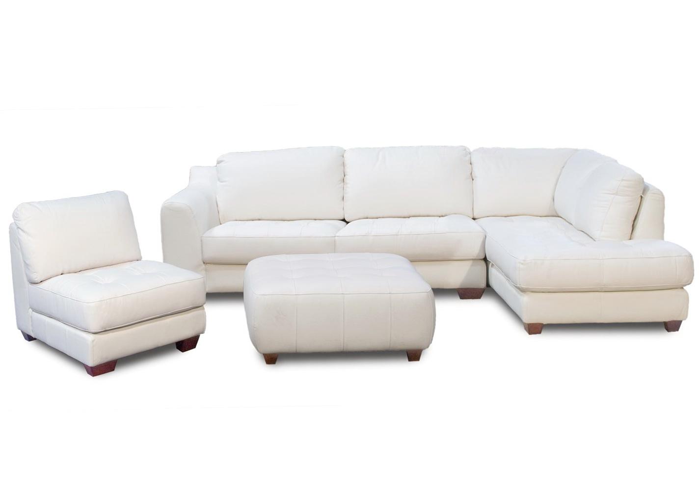 Off White Leather Ottoman