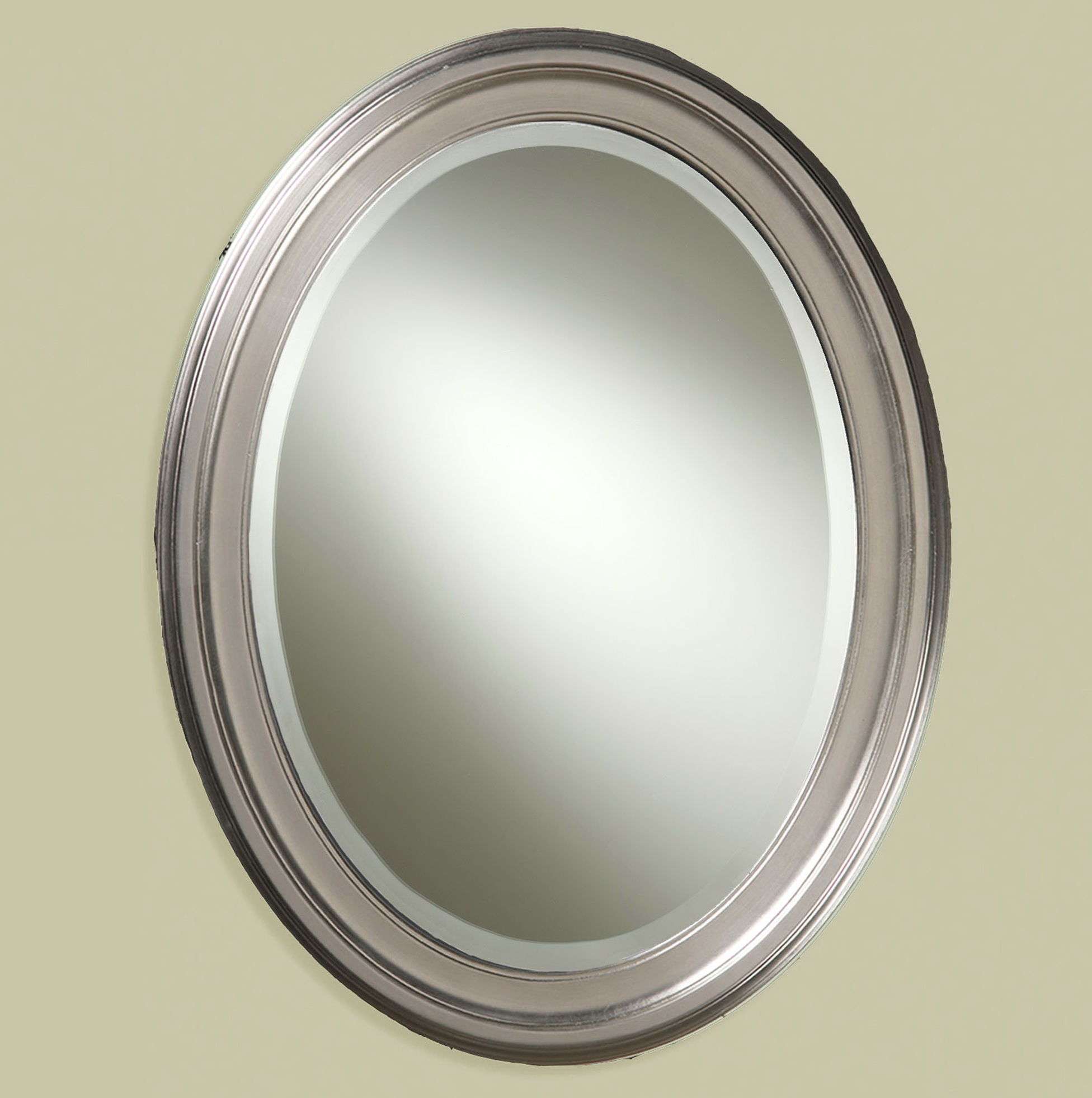 Oval bathroom mirrors brushed nickel home design ideas for Bathroom mirrors brushed nickel