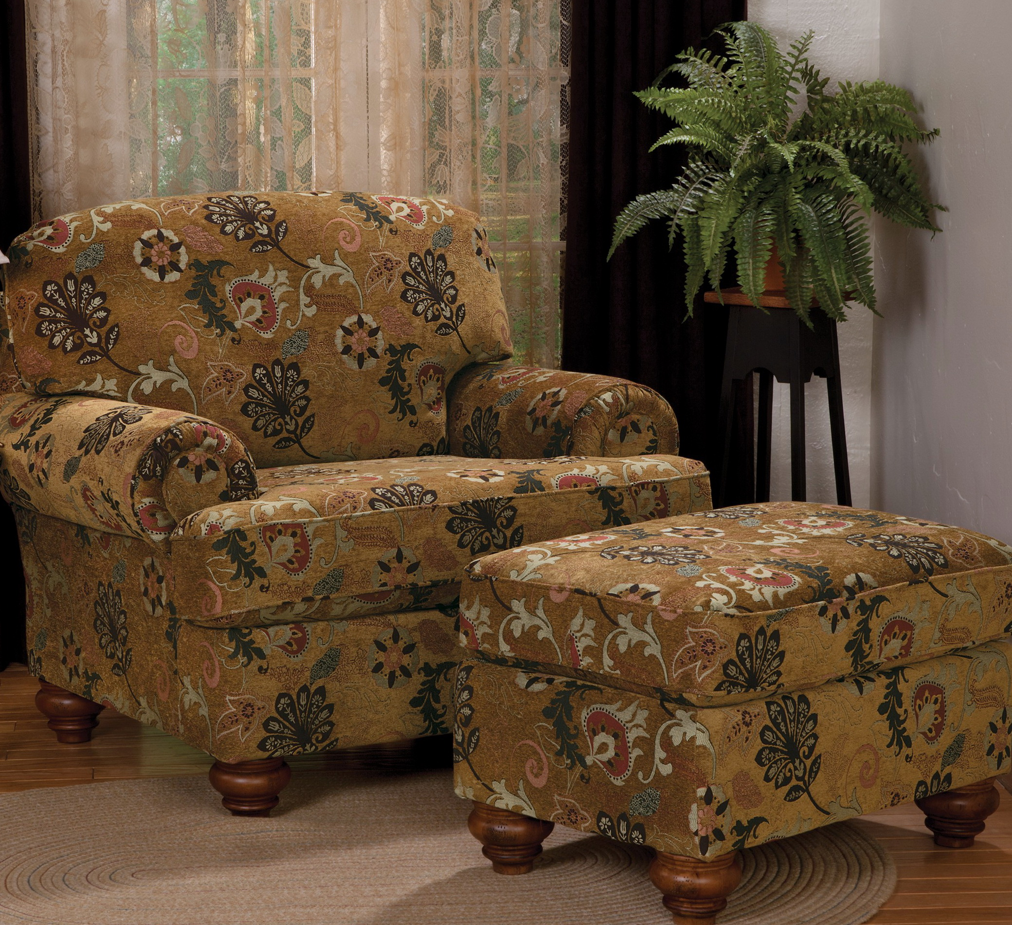 Overstuffed Chair And Ottoman Set