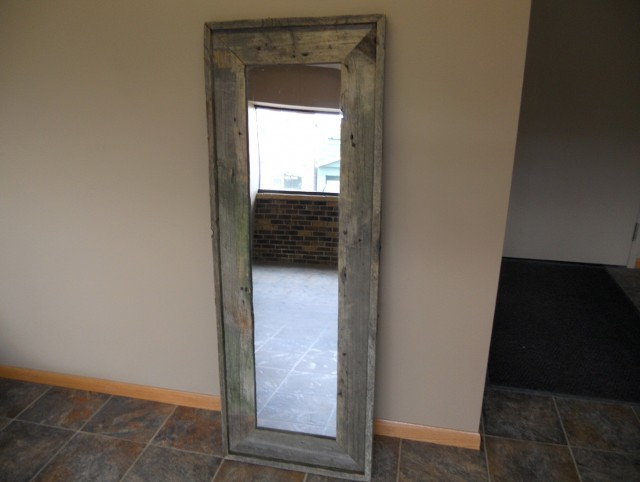 Reclaimed Wood Mirror With Shelf