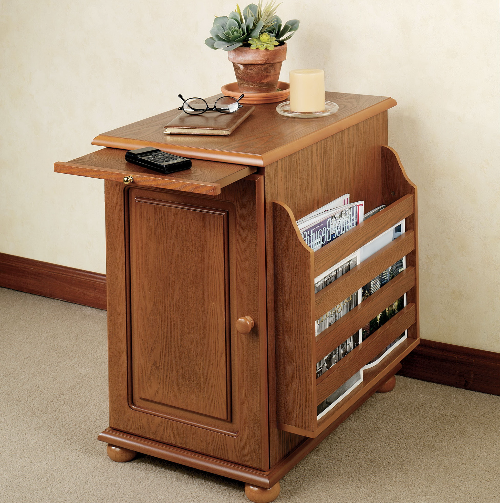 Recliner Side Table With Storage Home Design Ideas