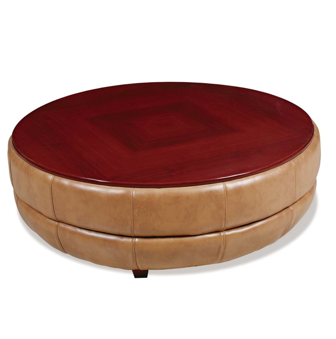 Red Leather Ottoman Coffee Table