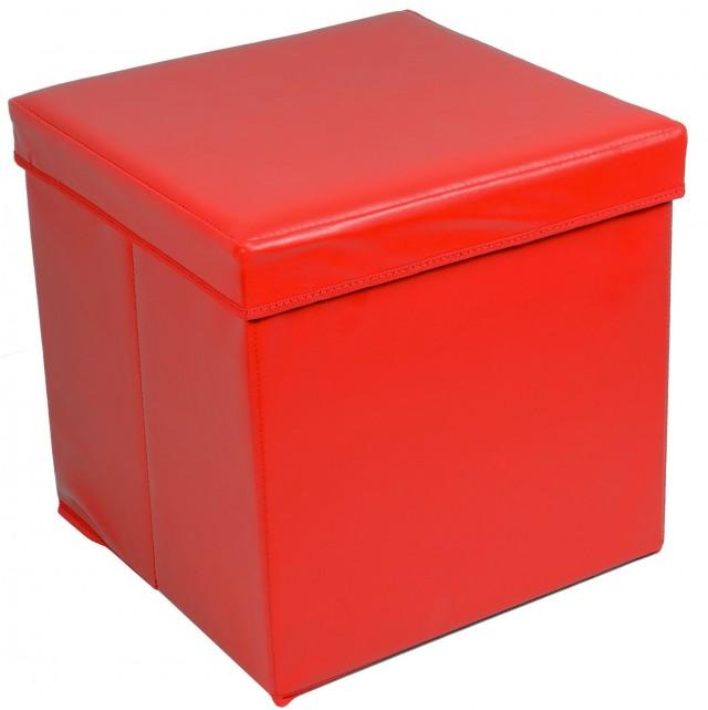 Red Storage Ottoman Cube