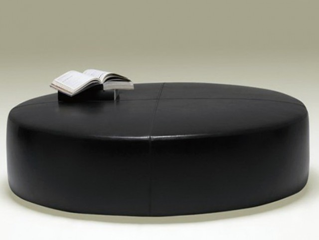 Round Black Leather Ottoman Coffee Table