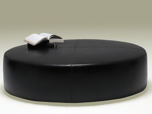 Round black leather ottoman coffee table home design ideas Black round ottoman coffee table