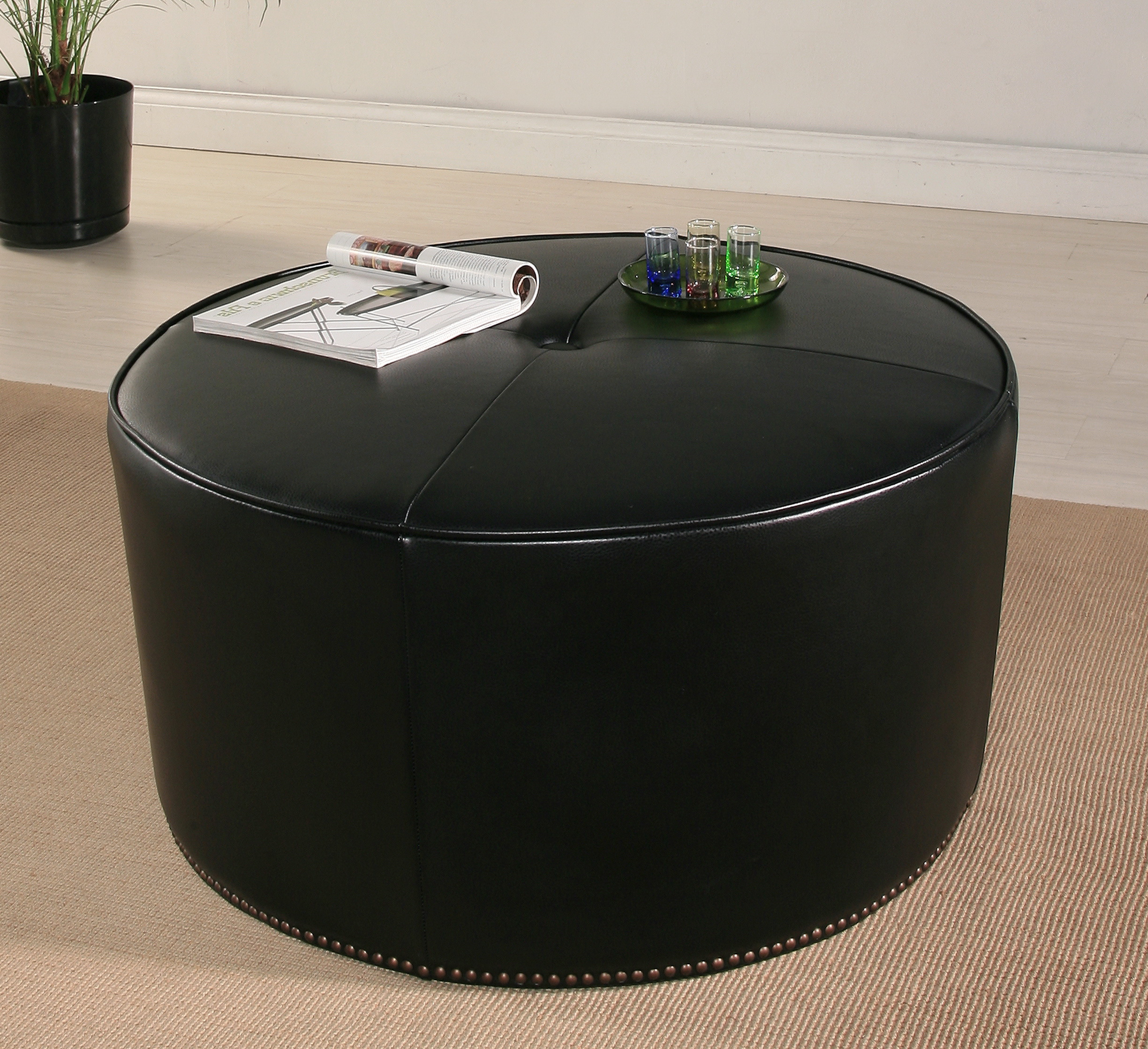 Round black leather ottoman home design ideas for Black leather footstool