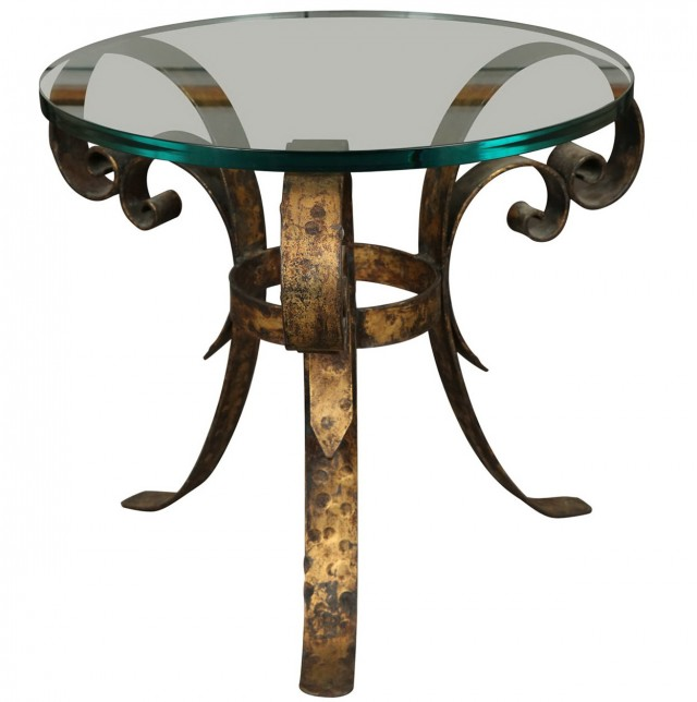 Round Brass Side Table