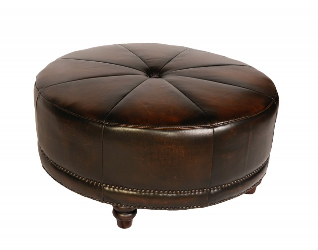 Round Cocktail Ottoman Leather