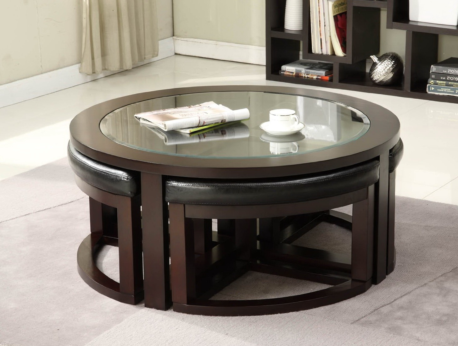 Round Coffee Table Ottomans Underneath
