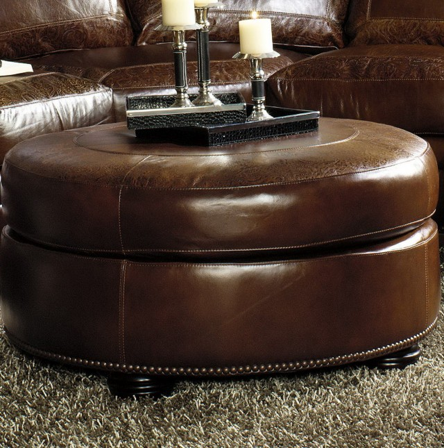 Round Leather Cocktail Ottoman