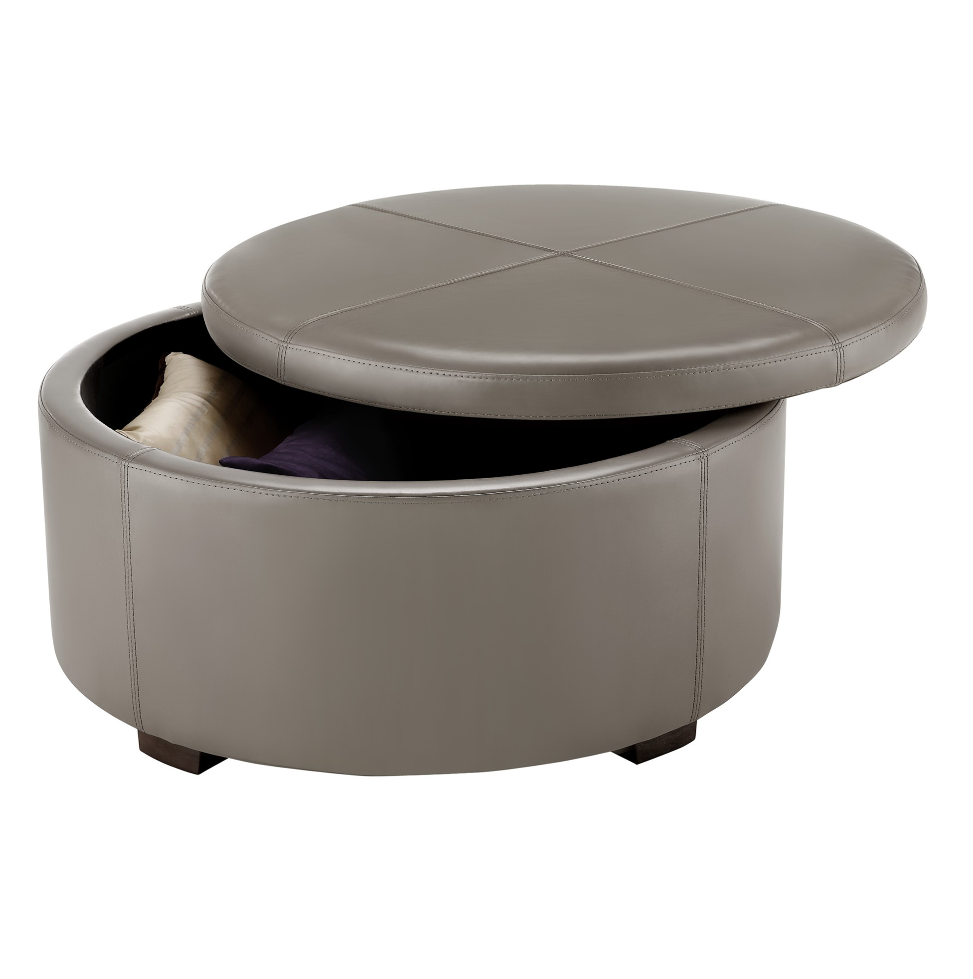Round Leather Ottoman Target