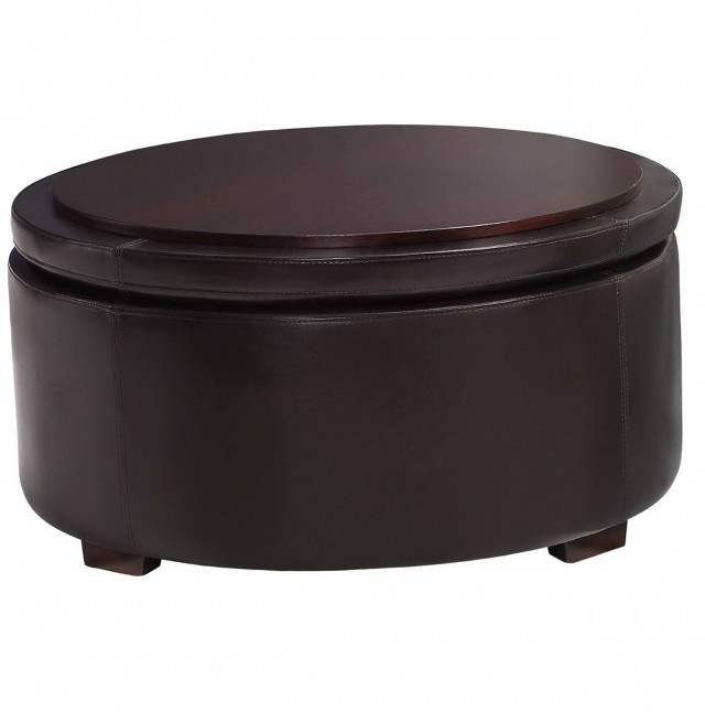 Round Leather Ottoman With Storage