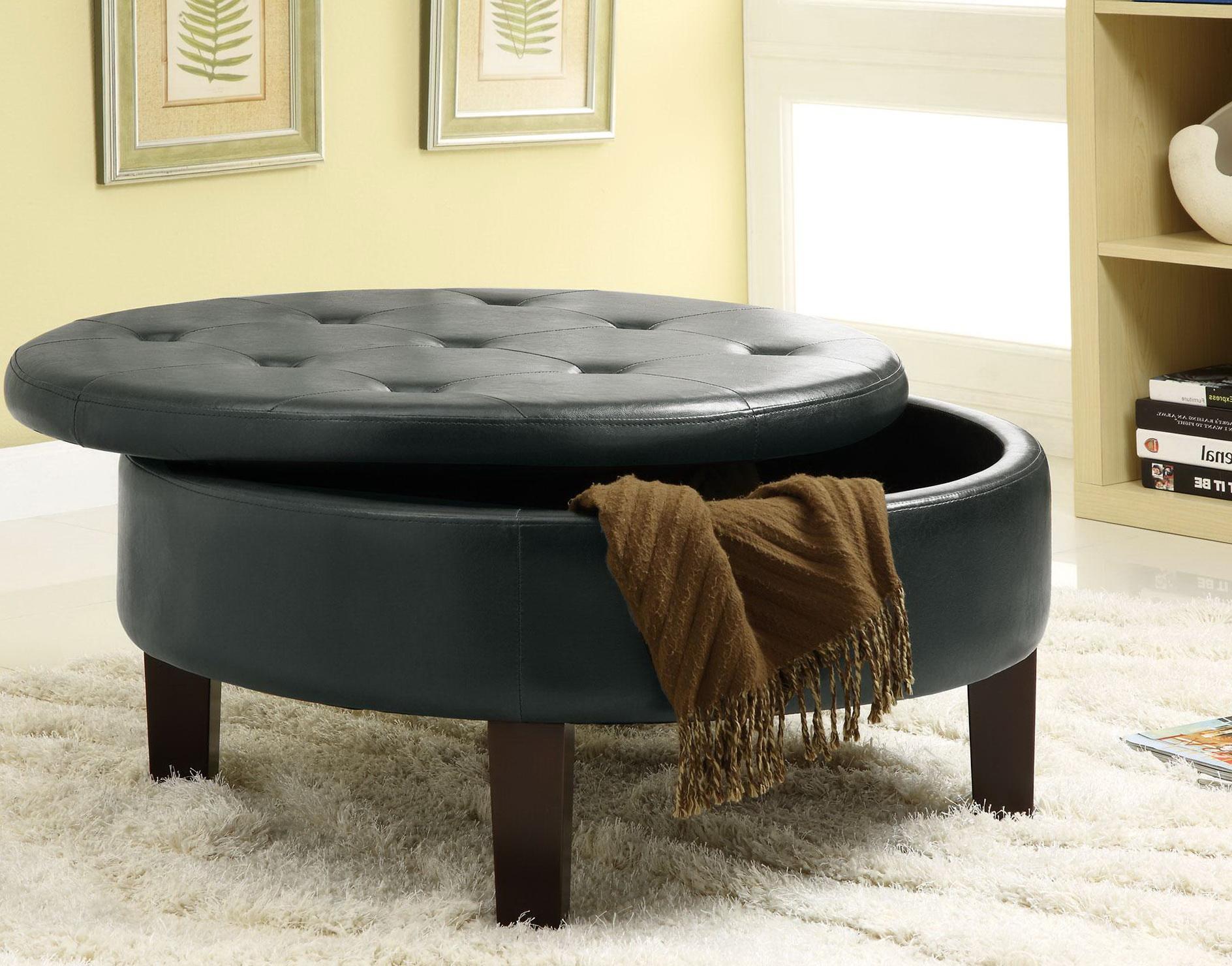 Round Leather Storage Ottoman