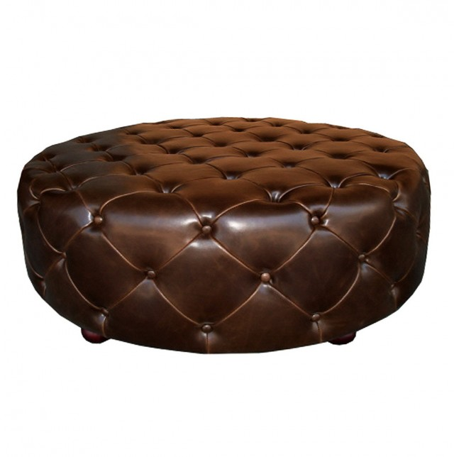 Small Round Tufted Ottoman Home Design Ideas