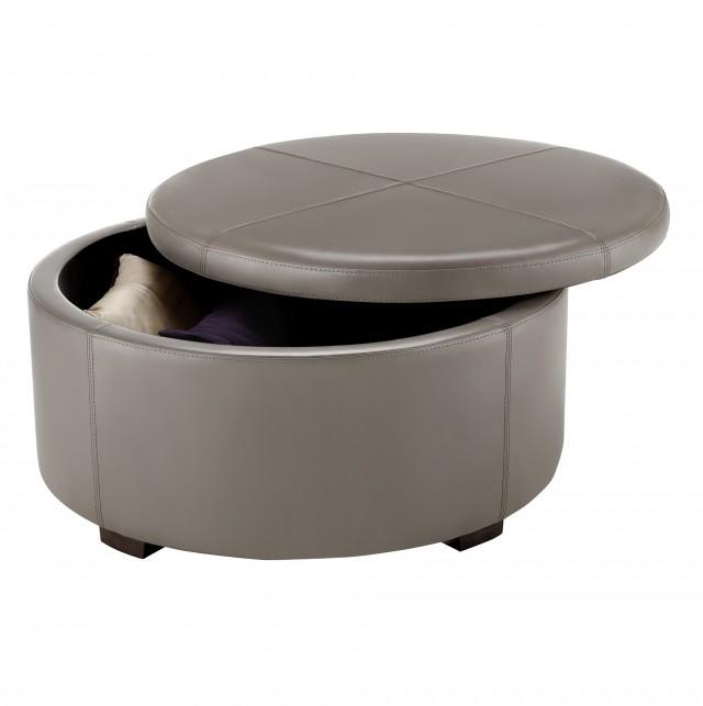 Round Ottoman With Storage Target