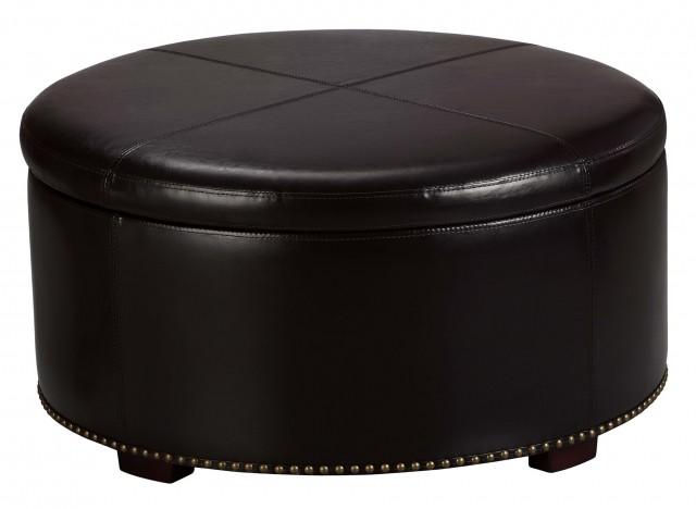 Round Ottoman With Storage Tray
